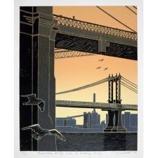 Manhattan Bridge Under the Brooklyn Bridge